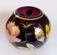 Vintage Dark Purple Amethyst Vase with Gild & Enamel painting Floral Scene Natur