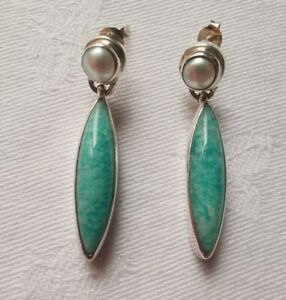 Sterling Silver Turquoise and REAL Pearl Beautiful Earrings