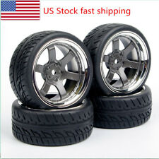 RC 6mm offset Tires&Wheel 12mm Hex For HPI HSP 1:10 Rubber On Road Racing Car US