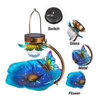 Solar Wild Bird Bath Feeder Bowl Outdoor Garden Decor Light LED Seed Tray