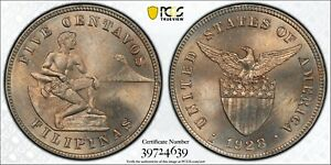 1928 M U.S. Philippines 5 Centavos PCGS MS65 Copper Nickel Registry Coin KM164