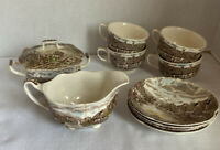 Vintage Olde English Countryside Johnson Bros Tea Set 4 Cups & Saucers Sugar Lid