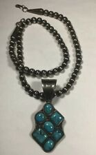 Vintage Navajo Sterling Silver Beaded Necklace With Sterling Turquoise Pendant.