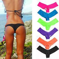Sexy Women Bikini Swimwear Bathing Thong Brazilian Cheeky Ruched Bottom HOT