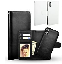 Apple Iphone X leather wallet case in White / detachable magnetic phone holder