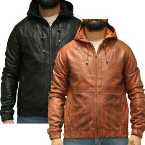 Mens Urban Streetwear Leather Jacket with Elasticated Waist in Black or Tan