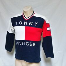 VTG 9ps Tommy Hilfiger Shirt Jersey Flag All Over Print Spell Out Lotus Small