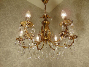 antik 6 fl Kronleuchter Lüster Deckenlampe Bronze Gold Kristall ca.1920