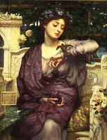 Oil painting Edward John Poynter - Young girl holding grape with bird Sparrow