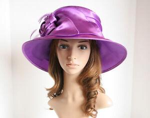 NEW Church Derby Wedding Light Satin w Flower Medium Dress Hat 604 Purple