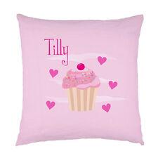 Bambini Personalizzata Nome cupcake rosa cuori Cuscino