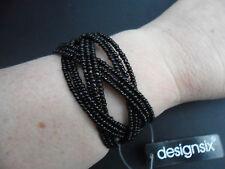Design Six Black Beaded Cuff Bracelet Bangle Adjustable BNWT