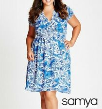 Plus Size Paisley Print With Elastic Waist Blue & MID DRESS Size 14 (Free Post)