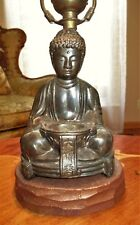 VTG DECO ERA BUDDHA BUDA INCENSE TABLE LAMP GLASS SHADE CHANDELIER FIXTURE