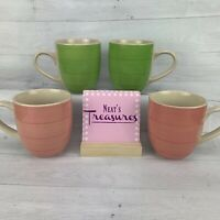 CITRUS GROVE Hand Painted Ceramic Coffee Mug Tea Cups  Pink Green Swirl Set 4