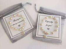 Pearl Crystal Bracelet & Heart Bridesmaid Flower Girl Birthday Thank you (#2B)
