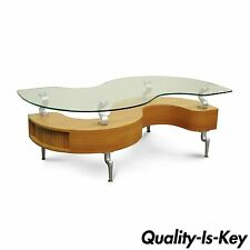 Global Furniture Modern Contemporary S Shaped Tambour Glass Top Coffee Table