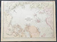 1870 John Bartholomew Large Antique Map of North Pole & Arctic Regions, Canada