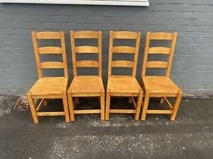 Set Of 4 Solid Beech Dining Chairs