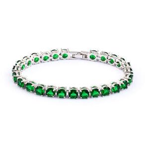 Rhinestone Rose Gold Women 4 Color Emerald Sapphire Zircon Bracelet Cuff Jewelry