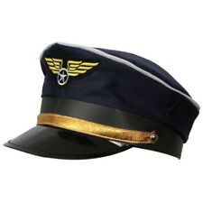 Kids Adults Blue AIRLINE Captain PILOT Hat Cap Cabin Crew Fancy Dress Costume