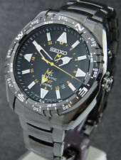 SEIKO MENS BLACK FACE PROSPEX LAND KINETIC GMT 100 METER SUN047P1 WATCH RRP £379