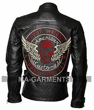 Men's Skull Embroidered Speed Metal Black Genuine Cowhide Leather Jacket