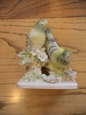 Vintage Norcrest Japan 2 Parakeet Birds On A Branch Figurine Porcelain Nice Rare