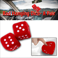 Deep Touch a Pair Red Hanging Mirror 2.36'' Plush Fuzzy Keychain Vintage Dice