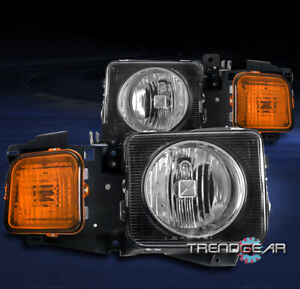 FOR 2006-2010 HUMMER H3/2009+ H3T SUV REPLACEMENT HEADLIGHT LAMP BLACK LH+RH SET