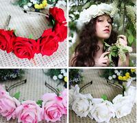 1PC Handmade Floral Crown Rose Headband Flower Hair Garland Festival Wedding