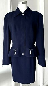 THIERRY MUGLER CHIC CONSTRUCTED NAVY BLUE JACKET/SKIRT SUIT METAL DETAILS 8 US