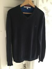 Crew Clothing Mens Lighweight Blue V Neck Jumper Size Medium