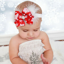 Cute Baby Girls Christmas Bow Feather Headband Snowflake Hair Band Headwear Gift