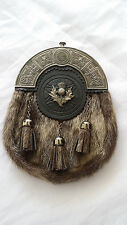 New Full Dress Kilt Sporran Formal Seal Skin Celtic Cantle Antique Thistle Crest