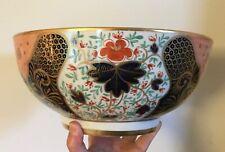 Large Antique English Imari Porcelain Punch Fruit Centerpiece Bowl Gilt 19th c.