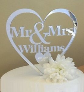 Mr & Mrs Wedding Cake Topper personalised decoration mirror keepsake