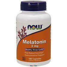 NOW Foods Melatonin 3 mg 180 Caps, Sleep Aid, High Quality, FRESH USA Made