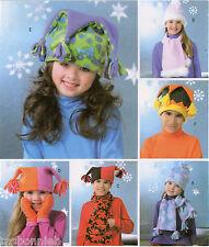 Boys & Girls Fleece Hats & Mittens S-M-L & Scarves Butterick 4306 Sewing Pattern
