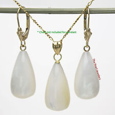 14k Yellow Gold Leverback & White Mother of Pearl Dangle Earrings & Pendant TPJ