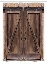 Rustic Stall Shower Curtain Wooden Barn Door Image Print For Bathroom 54x78
