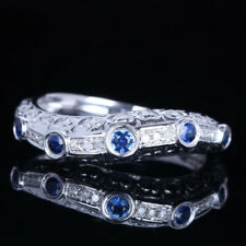 Natural Diamond Sapphires Jewelry Engagement Wedding Party Ring 10K White Gold