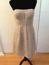 Nordstrom Max and Cleo Strapless Gray Metallic Dress Size 8