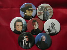 Johnny Cash man in Black I walk the line Set of 7 Select-a-Size Pinback Buttons