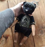 Artist Boudoir fantasy doll Goldy Black teddy bear . OOAK art doll