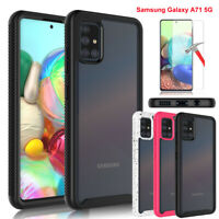 For Samsung Galaxy A71 5G Clear Case Cover Shockproof + Tempered Glass Protector
