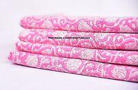 5 Yard Indian Hand Block Print Pink Flower Fabric Natural Jaipuri Handmade Art