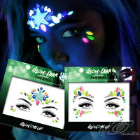 Glow in the Dark UV Face Jewels Stick On Adhesive Diamonds Gems Party Makeup Art