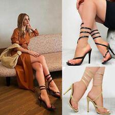 Womens Spiral Strappy Ankle Wraparound High Heels Snake Designer Sandals Size