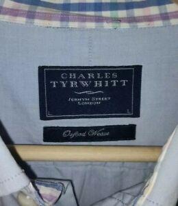 Charles Tyrwhitt Large Cotton Oxford Weave Long Sleeve Shirt Pale Blue